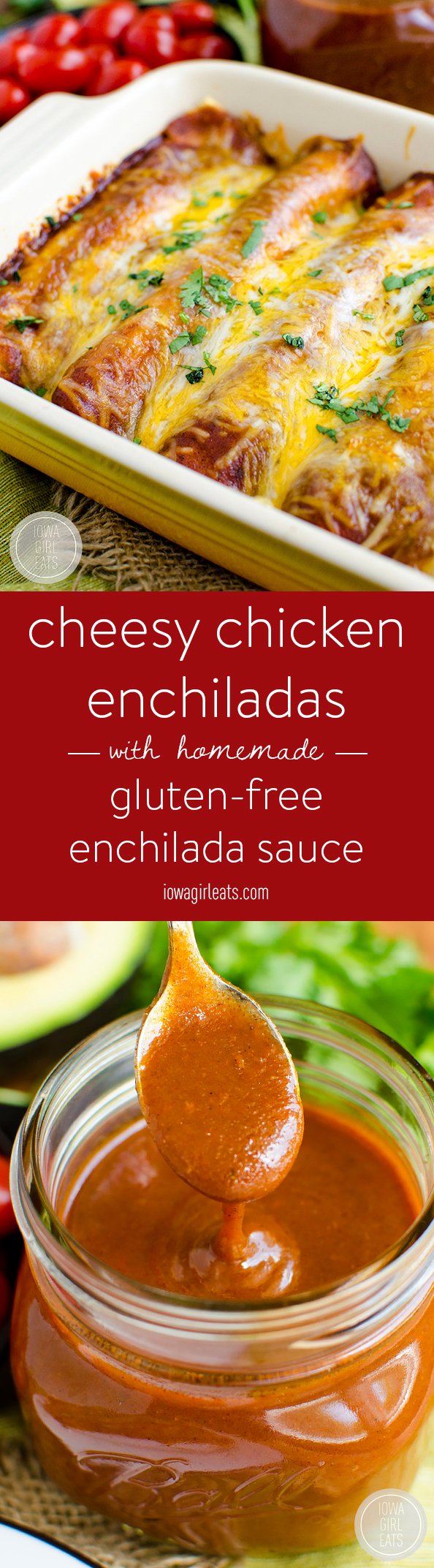 Photo collage of gluten free chicken enchiladas