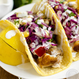 Fish Tacos with Avocado Sweet Corn Slaw
