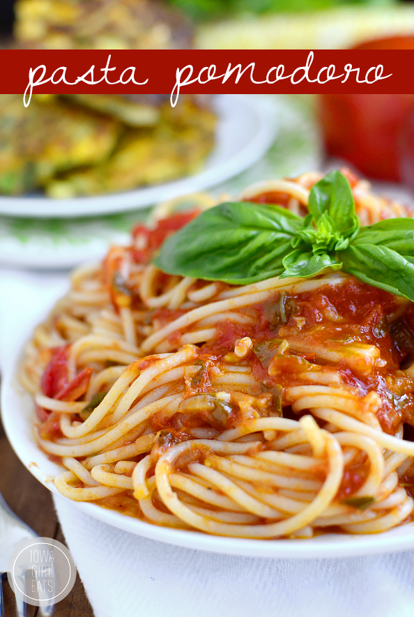 Pasta Pomodoro is the perfect recipe to highlight juicy, ripe summer tomatoes. This pasta dish is light and fresh! #glutenfree | iowagirleats.com