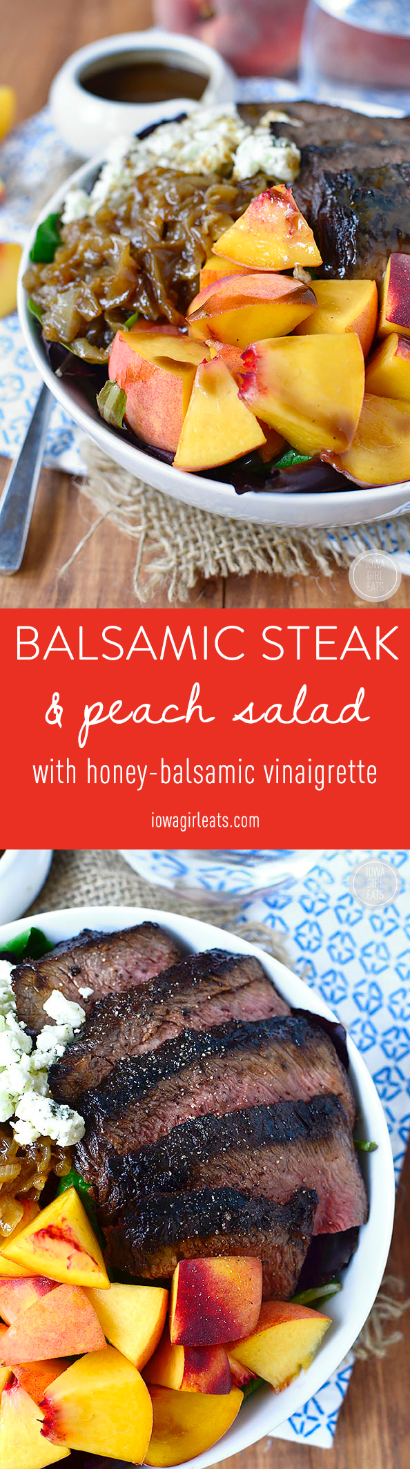 Balsamic Steak and Peach Salad is a fresh and filling entree salad with the sweet and savory flavors of balsamic vinegar. #glutenfree | iowagirleats.com