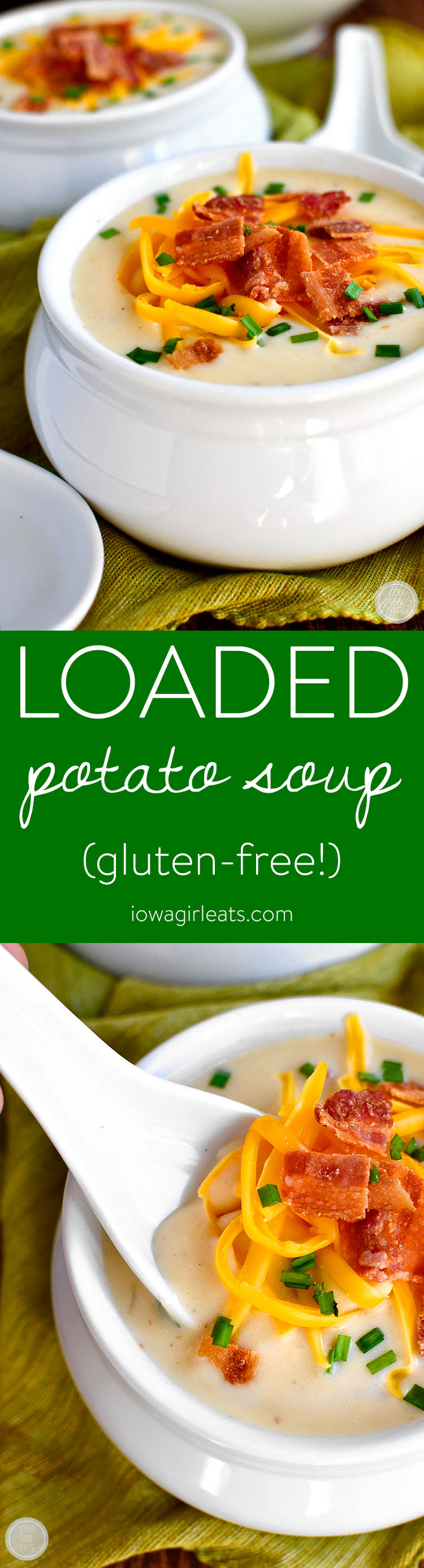 Loaded Potato Soup is thick, creamy, and gluten-free, plus it's loaded with delicious add-ins like bacon, sharp cheddar cheese, and chives!