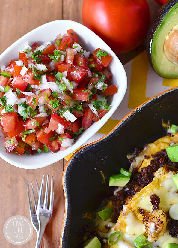 Shrimp & Chorizo Nachos with Fresh Pico de Gallo is the ultimate game day dish - make and enjoy out of just one skillet! #glutenfree | iowagirleats.com