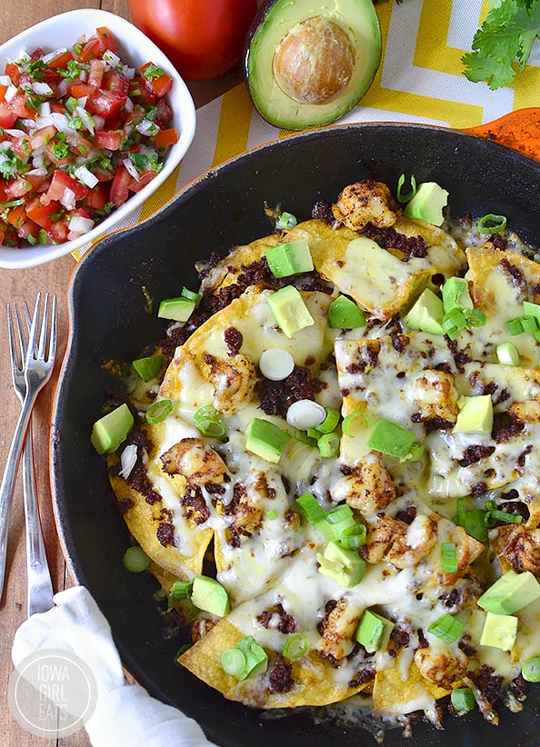 Shrimp & Chorizo Nachos with Fresh Pico de Gallo is the ultimate game day dish - make and enjoy out of just one skillet! #glutenfree   iowagirleats.com