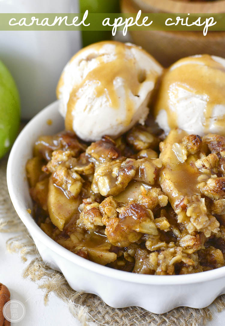 Gluten-free Caramel Apple Crisp with Easy Caramel Sauce is decadent and delicious. Serve warm with a scoop of ice cream for a heavenly fall treat! | iowagirleats.com