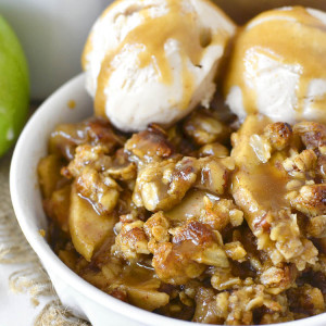 Caramel Apple Crisp with Easy Caramel Sauce