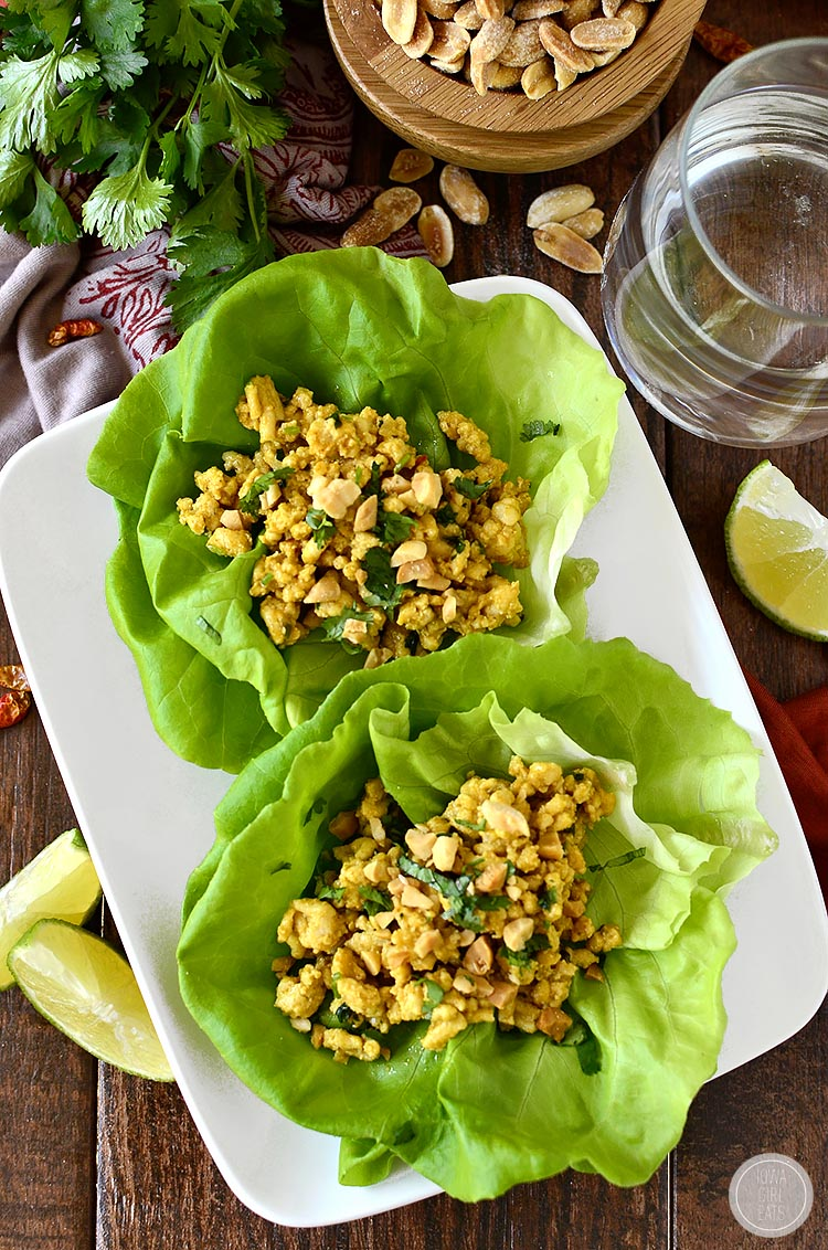 20 Minute Chicken Satay Lettuce Wraps give you all the flavor of Chicken Satay with Peanut Sauce in a snap! | iowagirleats.com
