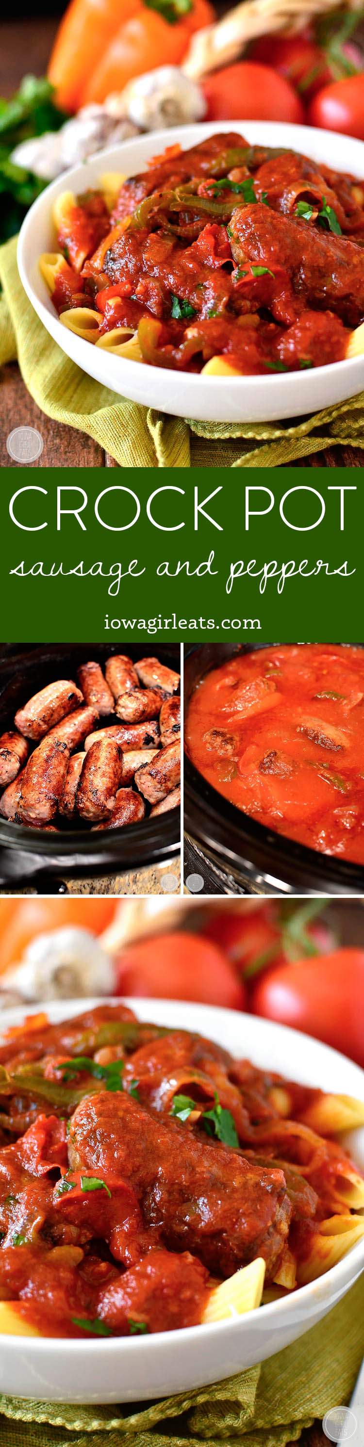 Crock Pot Sausage and Peppers are perfect for game day, a cozy supper at home, or any night you're craving an Italian feast! Serve over pasta, or with provolone and crusty rolls. | iowagirleats.com