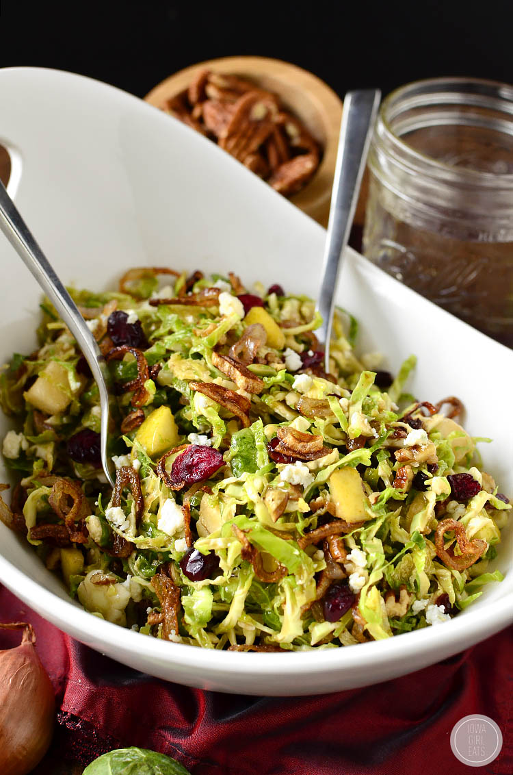 Fall Shredded Brussels Sprouts Salad is a crispy, crunchy, healthy entree salad recipe that's full of fresh fall flavors!