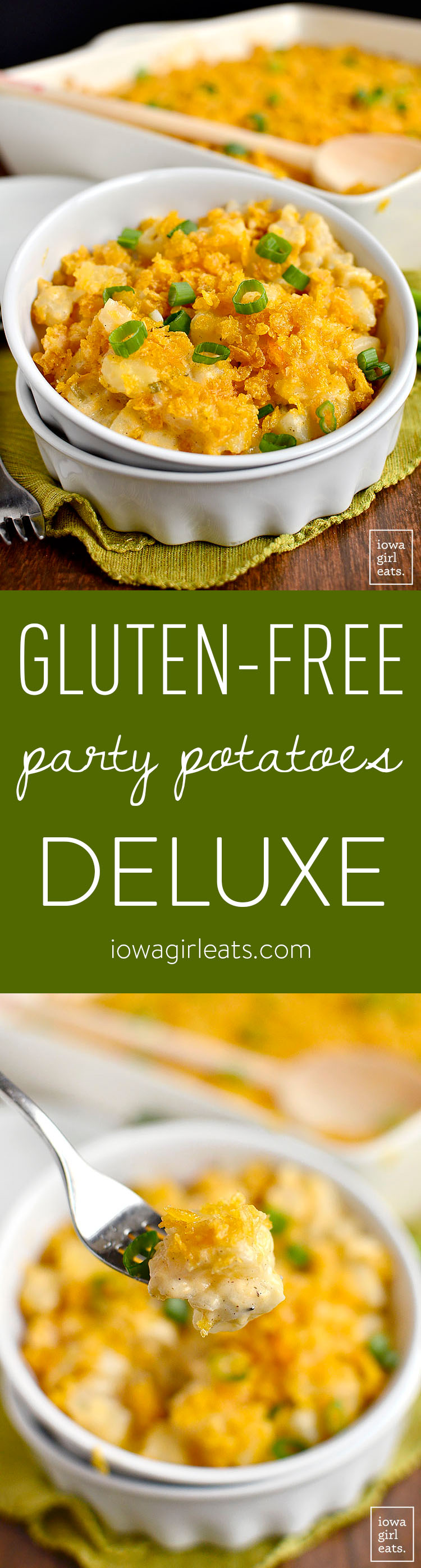 Gluten-Free Party Potatoes Deluxe has all the decadent, craveable flavor as the original, but is completely gluten-free! | iowagirleats.com