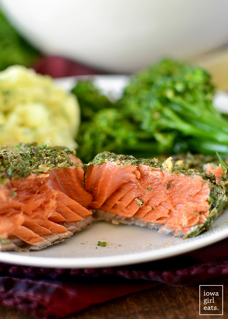 Herb and Caper Crusted Salmon is a light and healthy gluten-free dinner that takes just 20 minutes start to finish! | iowagirleats.com