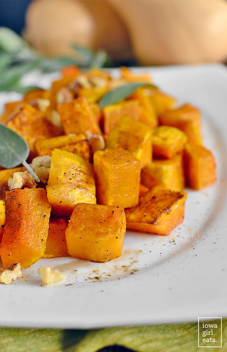 Roasted Balsamic Butternut Squash is easy and delicious. Serve as a fresh and seasonal gluten-free side with any weeknight or holiday meal! | iowagirleats.com