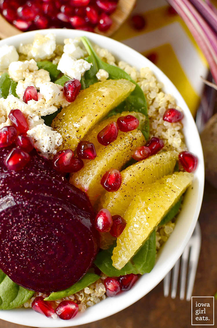 Roasted Beet, Orange, and Pomegranate Power Bowls will power you through your day. Packed with vibrant, good-for-you ingredients! | iowagirleats.com