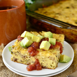Gluten-Free Roasted Poblano and Sausage Breakfast Casserole (Make Ahead!)