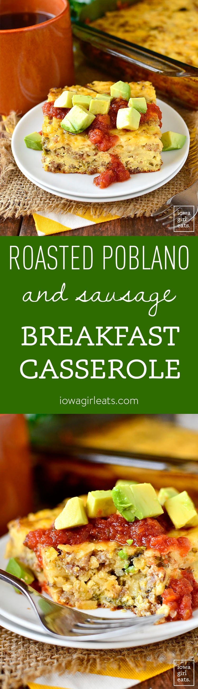 Gluten-Free Roasted Poblano and Sausage Breakfast Casserole is deliciously filling with a warming, mild spice. Easy to make ahead, too! | iowagirleats.com
