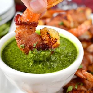 Bacon-Wrapped BBQ Shrimp with Chimichurri Dipping Sauce