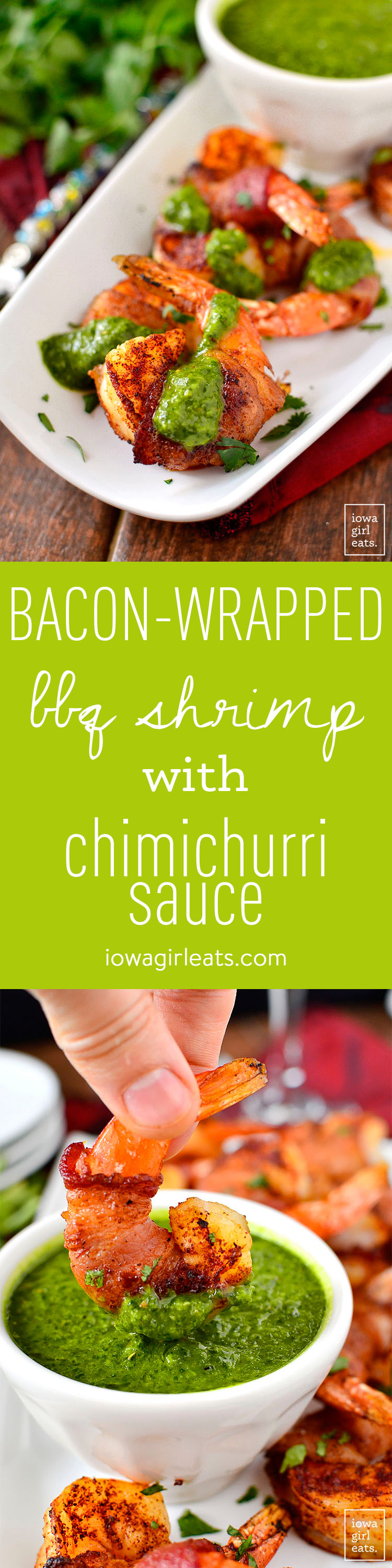 Bacon-Wrapped BBQ Shrimp with Chimichurri Dipping Sauce is an easy and irresistible gluten-free appetizer. Bursting with both fresh and savory flavors! | iowagirleats.com