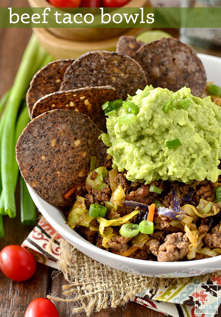 Beef Taco Bowls are healthy and quick - just 15 minutes from skillet to table! | iowagirleats.com