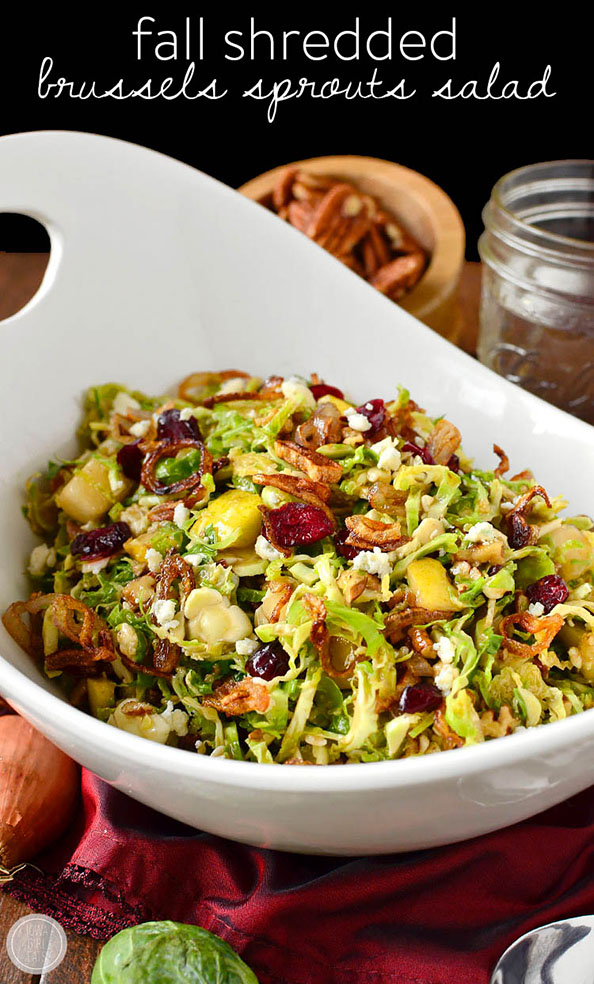 Fall Shredded Brussels Sprouts Salad | iowagirleats.com