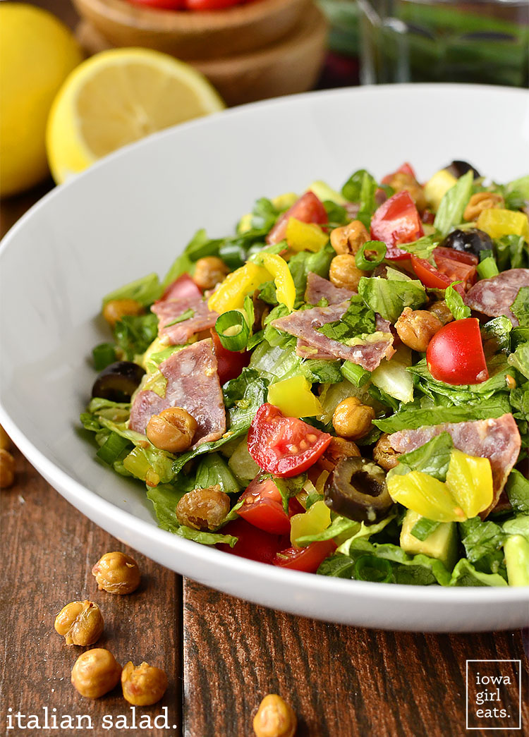 Italian Salad tastes just like a fresh Italian Sub from the deli. Fresh, healthy, and gluten-free! | iowagirleats.com