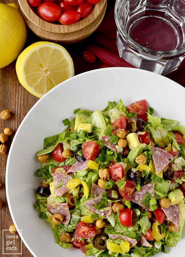Italian Sub Salad tastes like a jam-packed deli sub. Fresh, healthy, and gluten-free! | iowagirleats.com