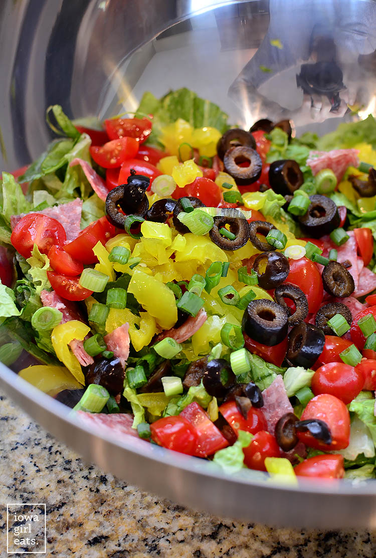 Italian Sub Salad tastes like a jam-packed deli sub. Fresh, healthy, and gluten-free!
