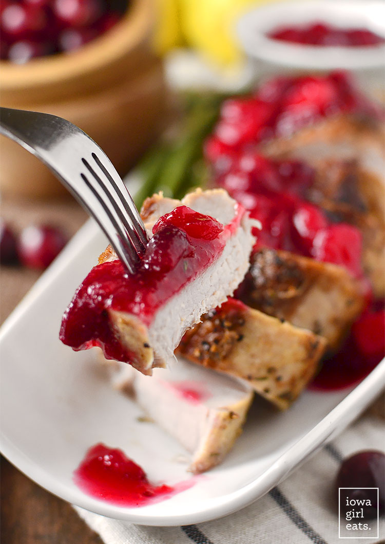 Roasted Pork Tenderloin with Cranberry-Pear Sauce is easy and filling, and features a delicious sweet-tart sauce sweetened without refined sugar! #glutenfree | buzzpur.info