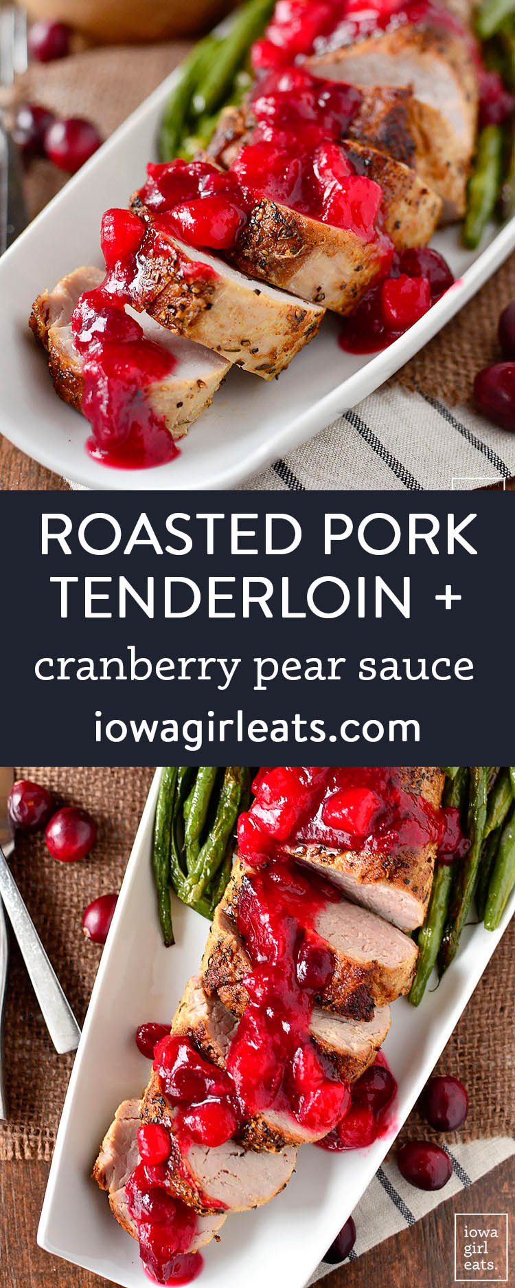 Photo collage of roasted pork tenderloin