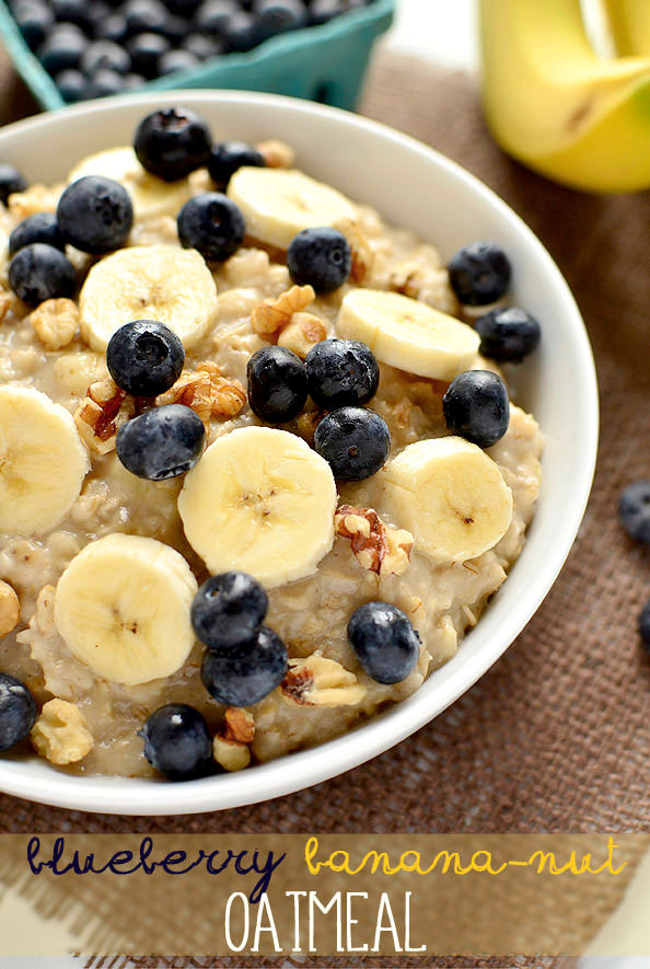 Blueberry Banana-Nut Oatmeal | iowagirleats.com