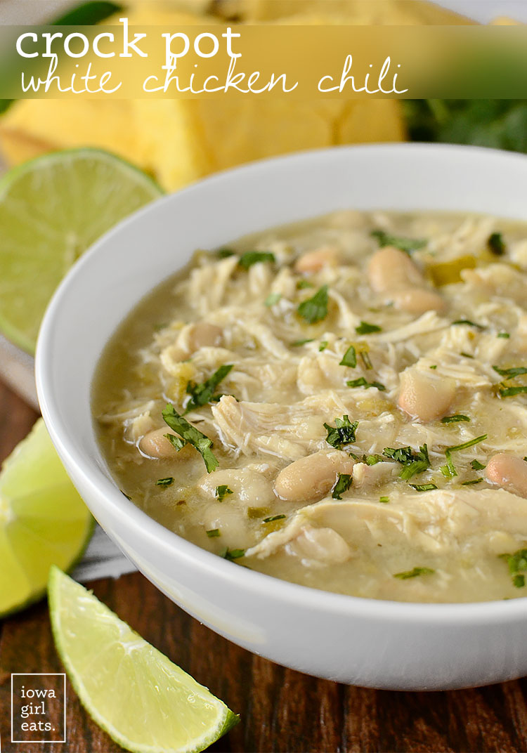 Crock Pot White Chicken Chili - Healthy Crock Pot Recipe