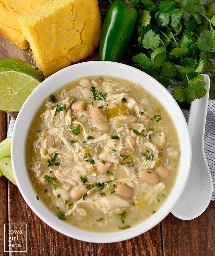 Overhead photo of a bowl of CrockPot White Chicken Chili