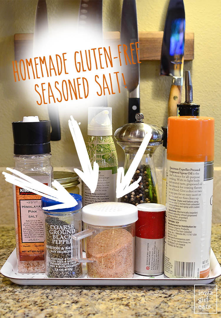Homemade Gluten-Free Seasoned Salt gives a boost of flavor to almost anything! Just 4 ingredients, and no preservatives. | iowagirleats.com