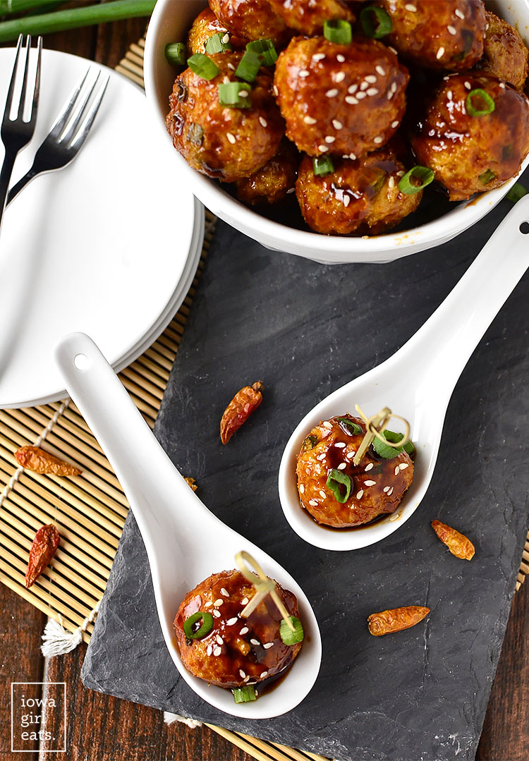 Kung Pao Chicken Meatballs are the perfect bite-sized game day or party appetizer! | iowagirleats.com