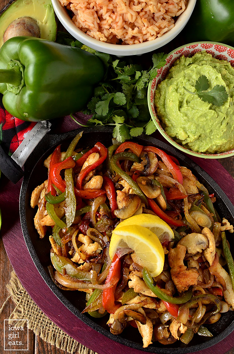 Overhead photo of The BEST Chicken Fajitas