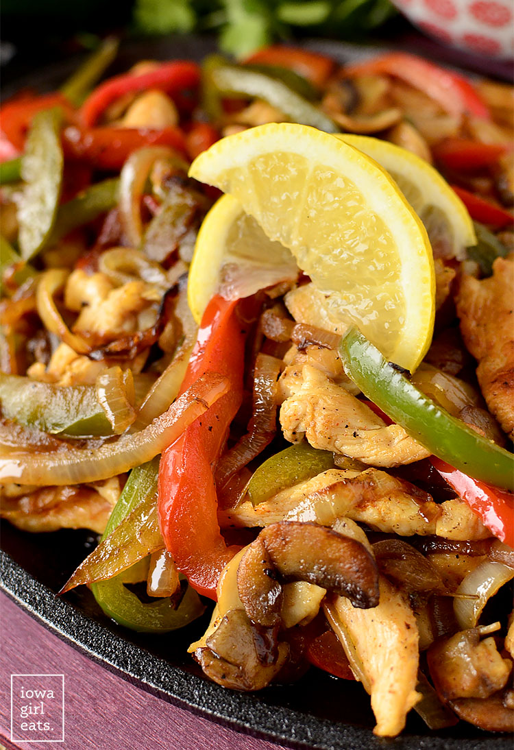 Close up photo of The BEST Chicken Fajitas
