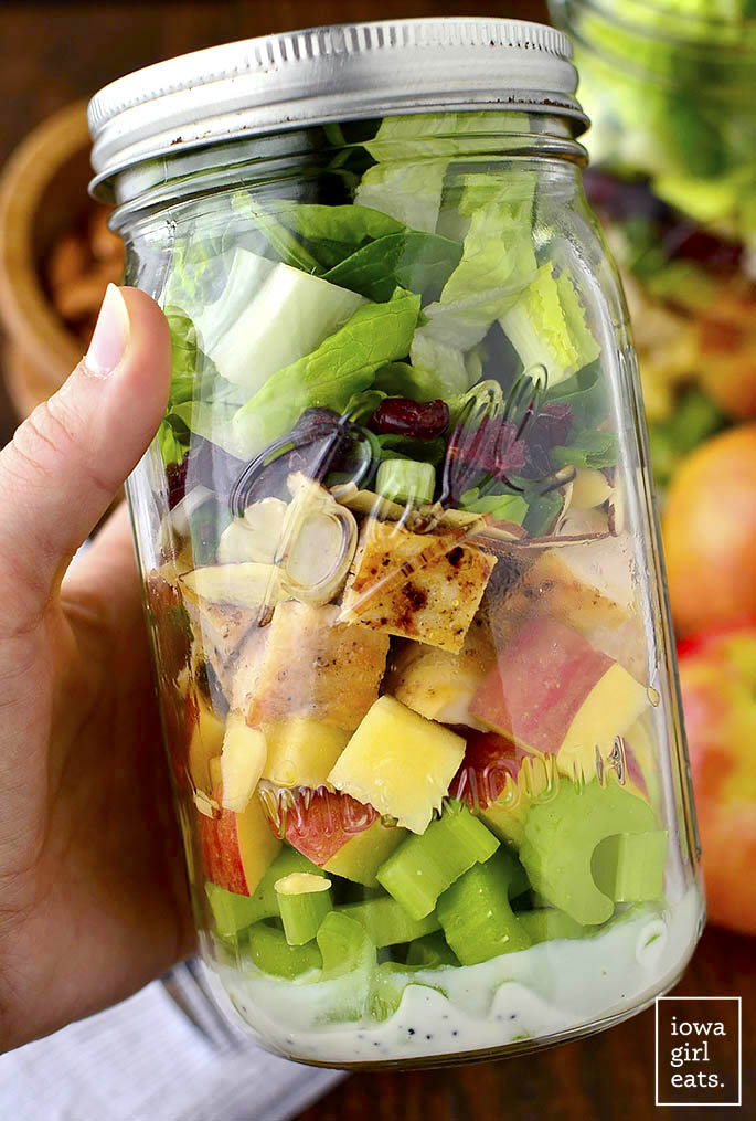 Apple, Cranberry, Almond Mason Jar Salads with homemade Greek Yogurt Poppy Seed Dressing are a fresh, healthy, and easy make-ahead lunch option!   buzzpur.info