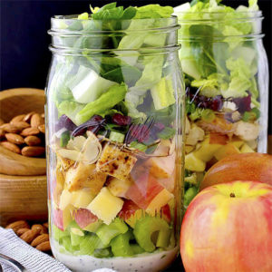 Apple, Cranberry, Almond Mason Jar Salads
