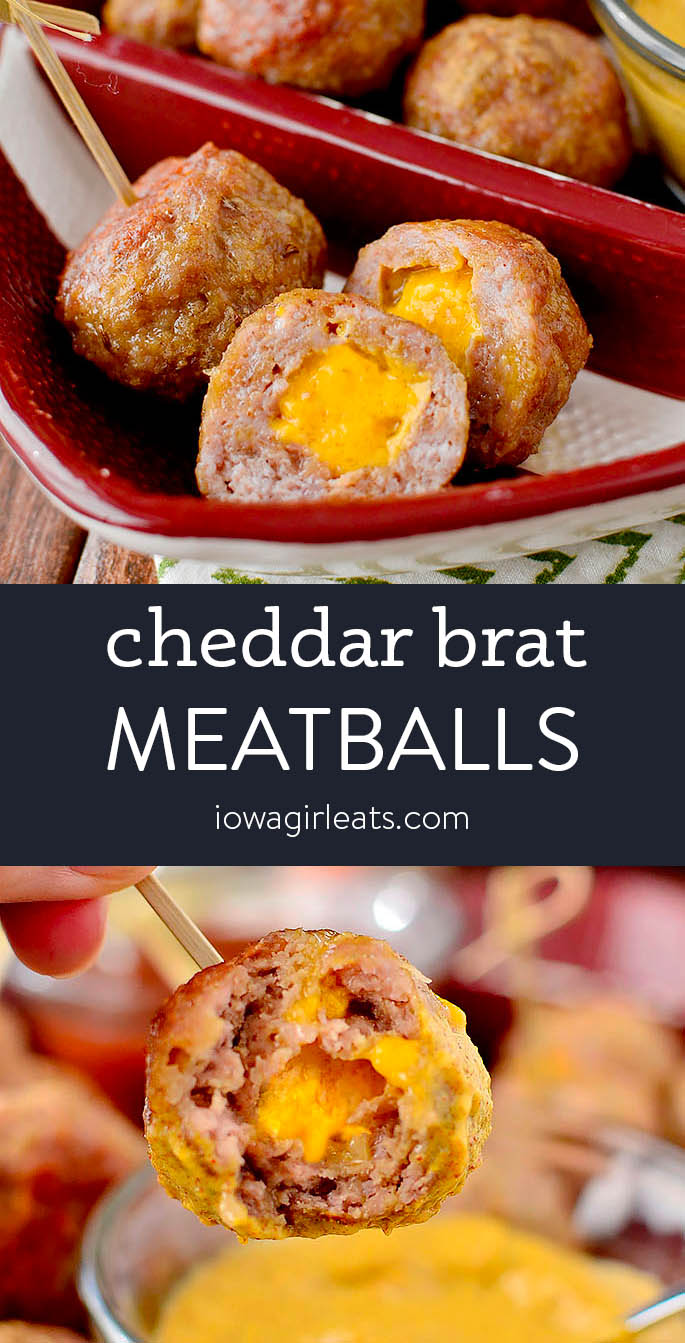 Photo collage of of Cheddar Brat meatballs with 3 dipping sauces