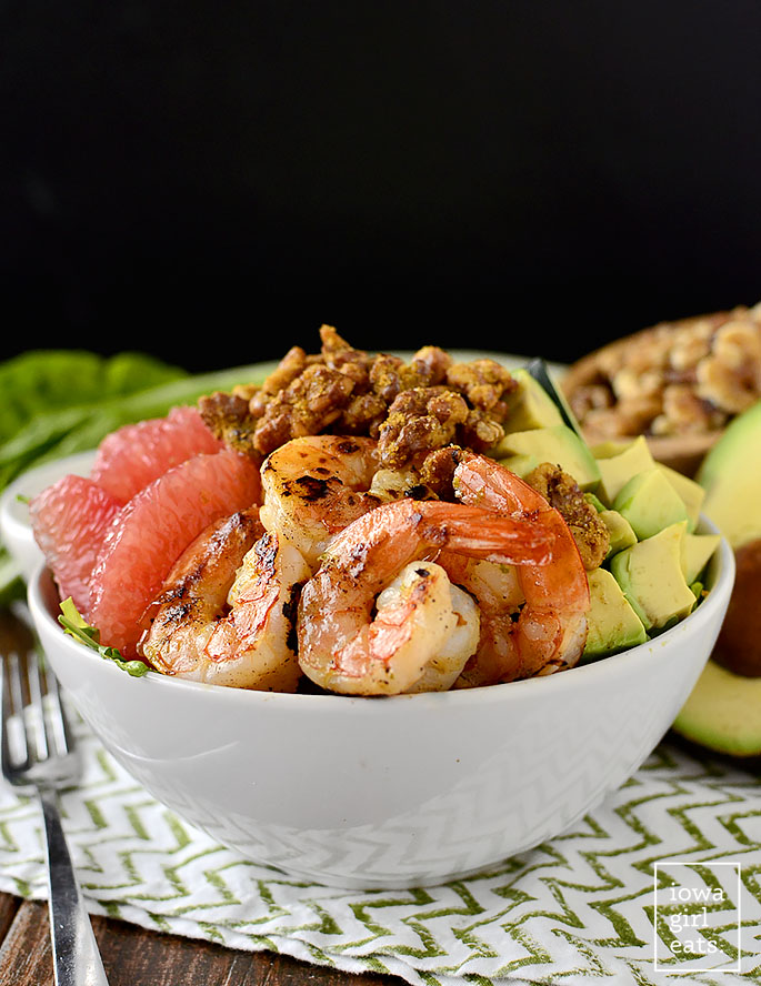 Grapefruit + Avocado Shrimp Bowls with Umami Walnuts are fresh and healthy, with a delicious and addicting walnut topping! | iowagirleats.com