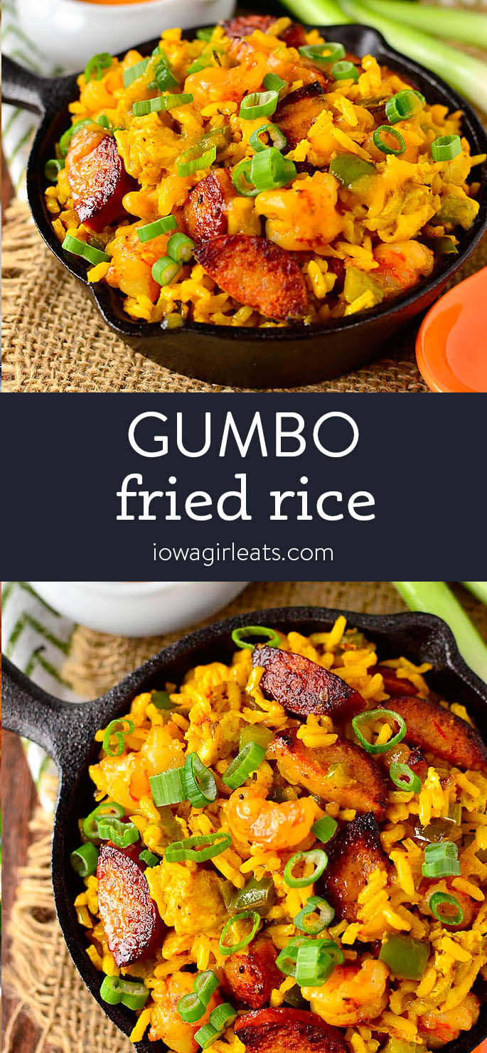 Photo collage of Gumbo Fried Rice