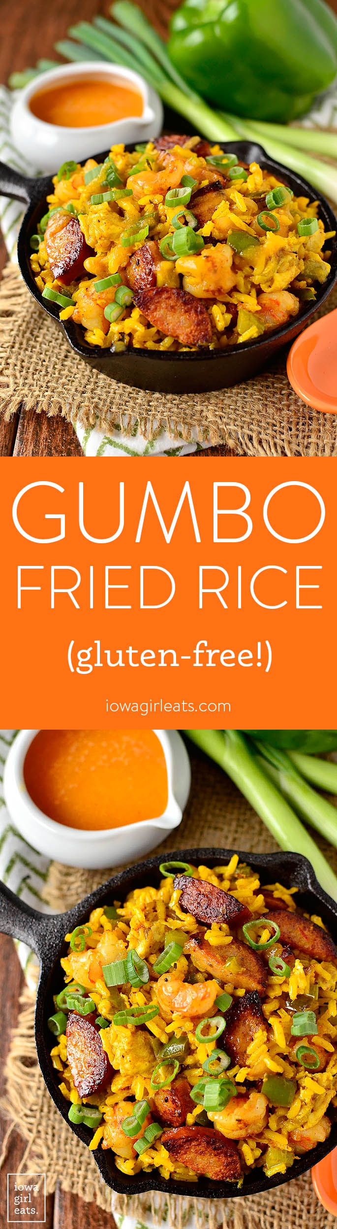 Gumbo Fried Rice gives you those signature southern flavors in way less time than it takes to boil a pot of gumbo! | iowagirleats.com