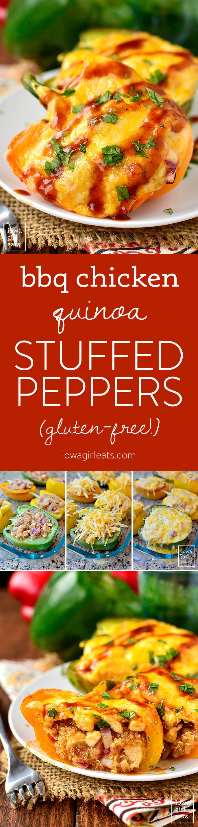 BBQ Chicken Quinoa Stuffed Peppers are full of flavor yet light and healthy. This gluten-free dinner recipe couldn't be more delicious! | iowagirleats.com