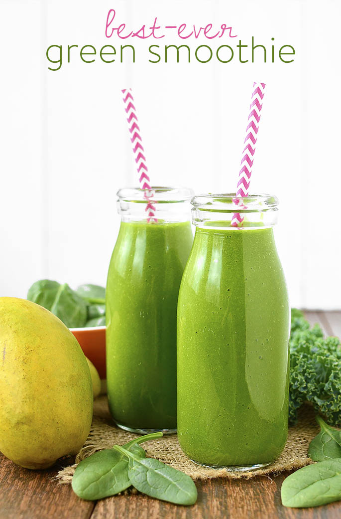 4-ingredient Best-Ever Green Smoothie is gluten, dairy, and banana-free, and is the best-tasting green smoothie EVER! If you don't want to eat your dark leafy greens - drink them! | iowagirleats.com