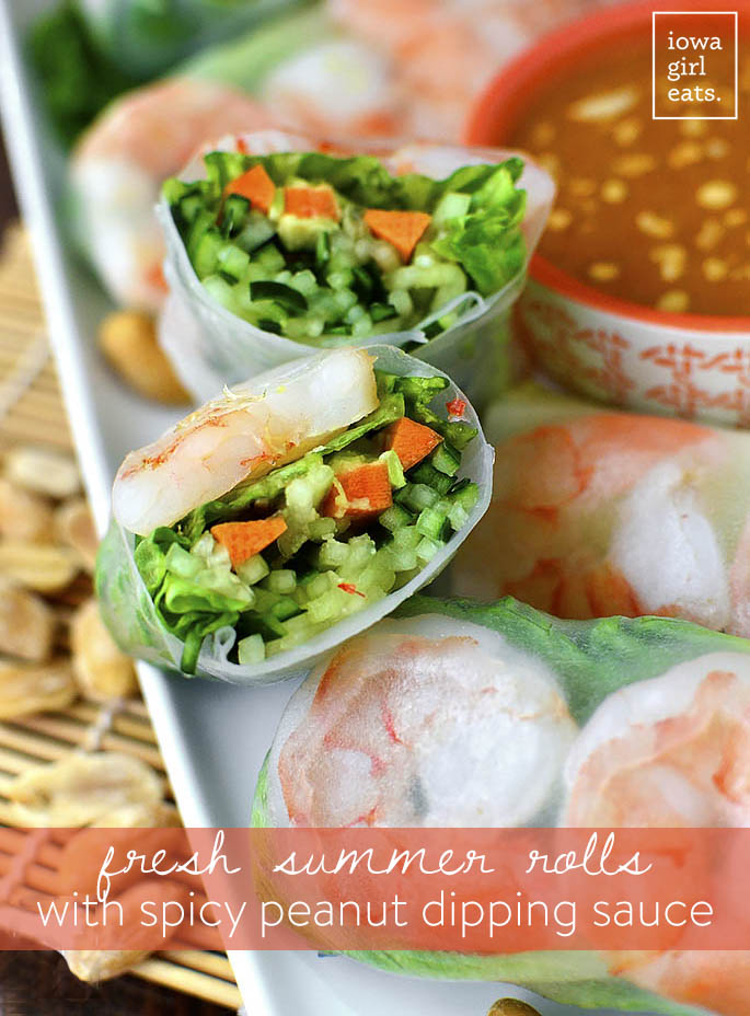 Fresh Summer Rolls with Spicy Peanut Dipping Sauce are light, crunchy, and healthy, and paired with a craveable yet easy dipping sauce! | iowagirleats.com