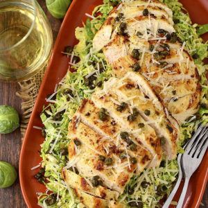 Shredded Brussels Sprouts & Chicken Caesar Salad