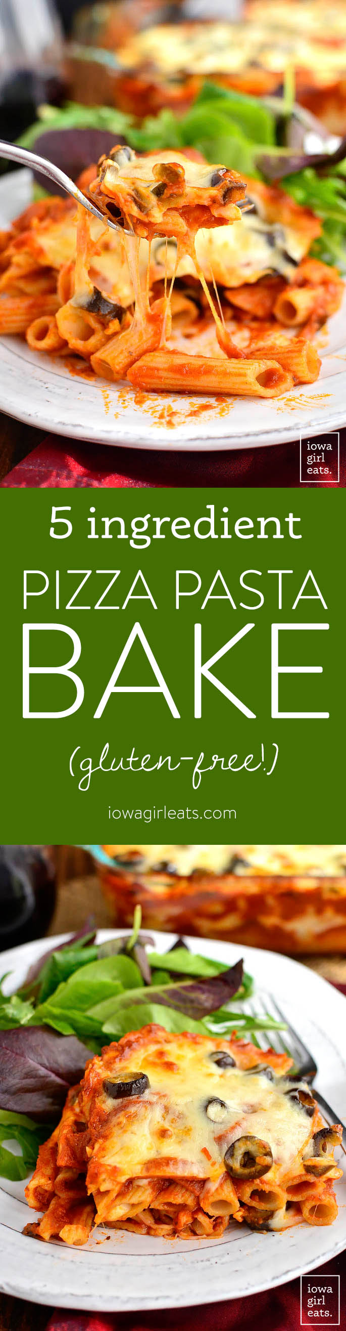 5-Ingredient Pizza Pasta Bake is a cheesy and decadent gluten-free casserole recipe that will let you get your pizza fix without calling for delivery! | iowagirleats.com