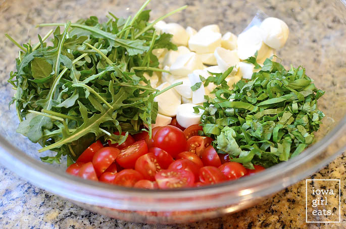 Caprese Pasta Salad is light and fresh - the perfect gluten-free spring and summer potluck or picnic salad! | iowagirleats.com