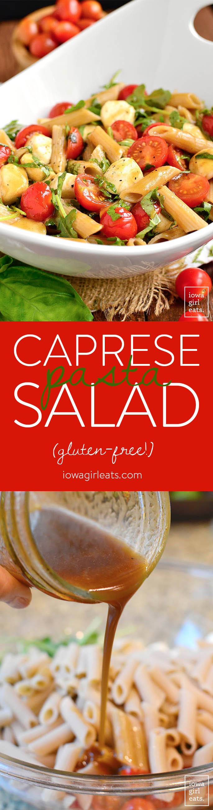 photo collage of caprese pasta salad