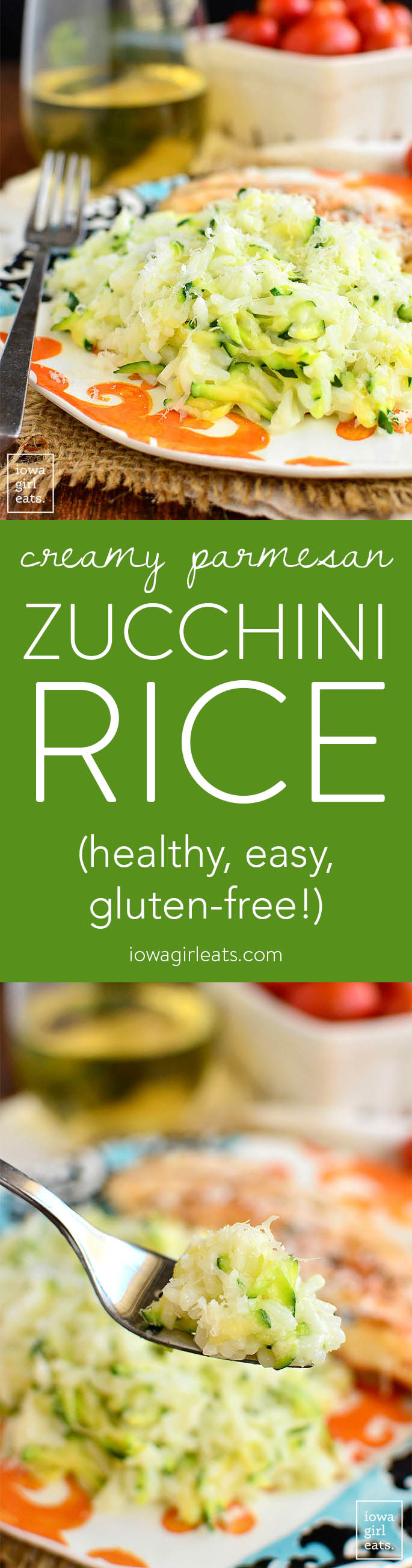 Creamy Parmesan Zucchini Rice is a quick and easy, vegetable-packed gluten-free side dish recipe calling for just 5 ingredients (plus salt!) | iowagirleats.com