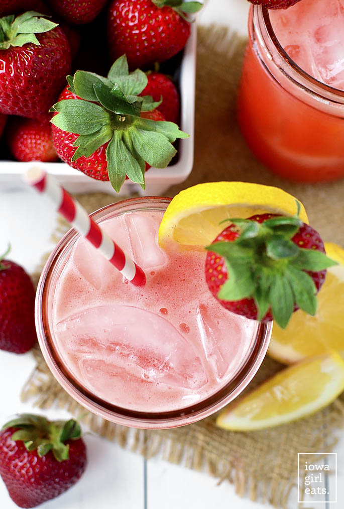 Strawberry Coconut-Water Lemonade is a sweet-tart summery drink made with fresh strawberries and lemons, and hydrating coconut water. Turn leftovers into popsicles! | iowagirleats.com