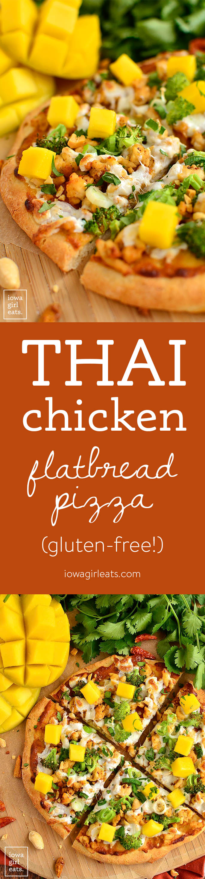 Switch up pizza night with gluten-free Thai Chicken Flatbread Pizza featuring savory peanut sauce, fresh herbs, and sweet mango. | iowagirleats.com